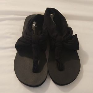 Brand New never worn fabric sling sandals